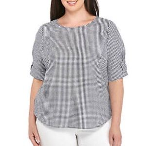 Crown & Ivy Gingham Plus Size Bow Sleeve Top 2X